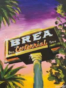 Abstract painting of the Brea Welcomes You sign, created especially for the Brea Centennial. (Photo Courtesy of the Brea Museum & Historical Society)