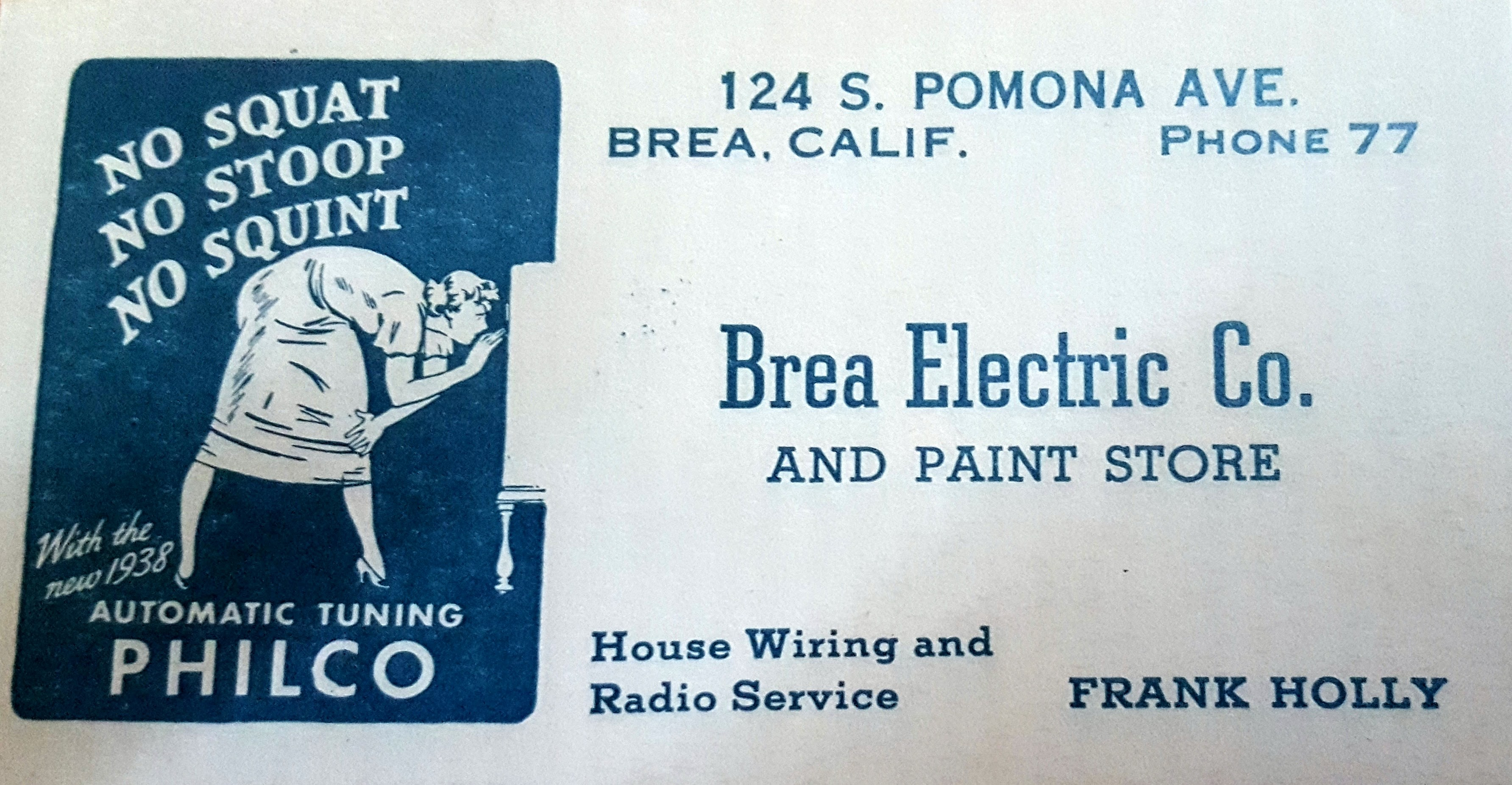 Frank Holly's grandson found an entire box of these business cards from the 1930's. Note the phone number. (Photo Courtesy of Richard Holly)