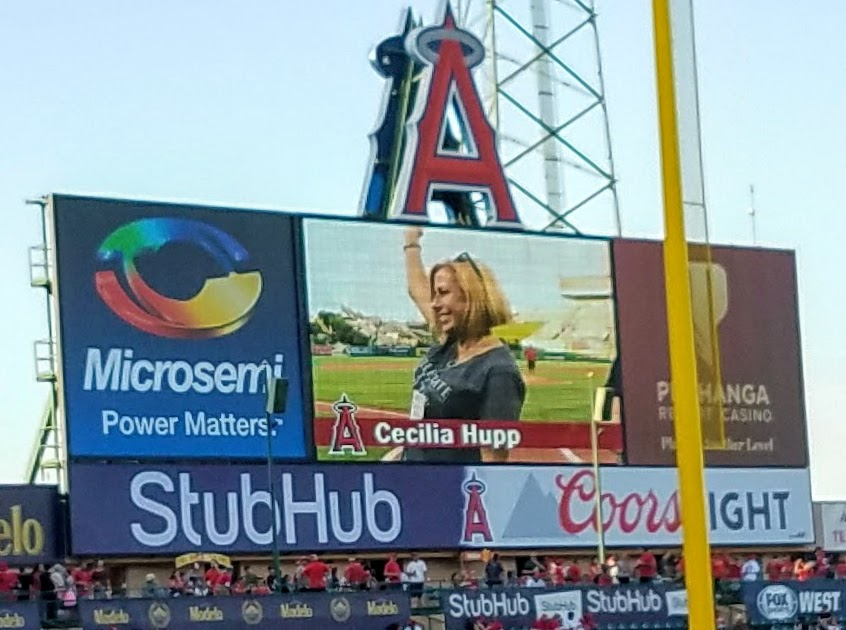 Mayor of Brea Cecilia Hupp being recognized at home plate prior to first pitch (Photo Courtesy of Dena Sommer)