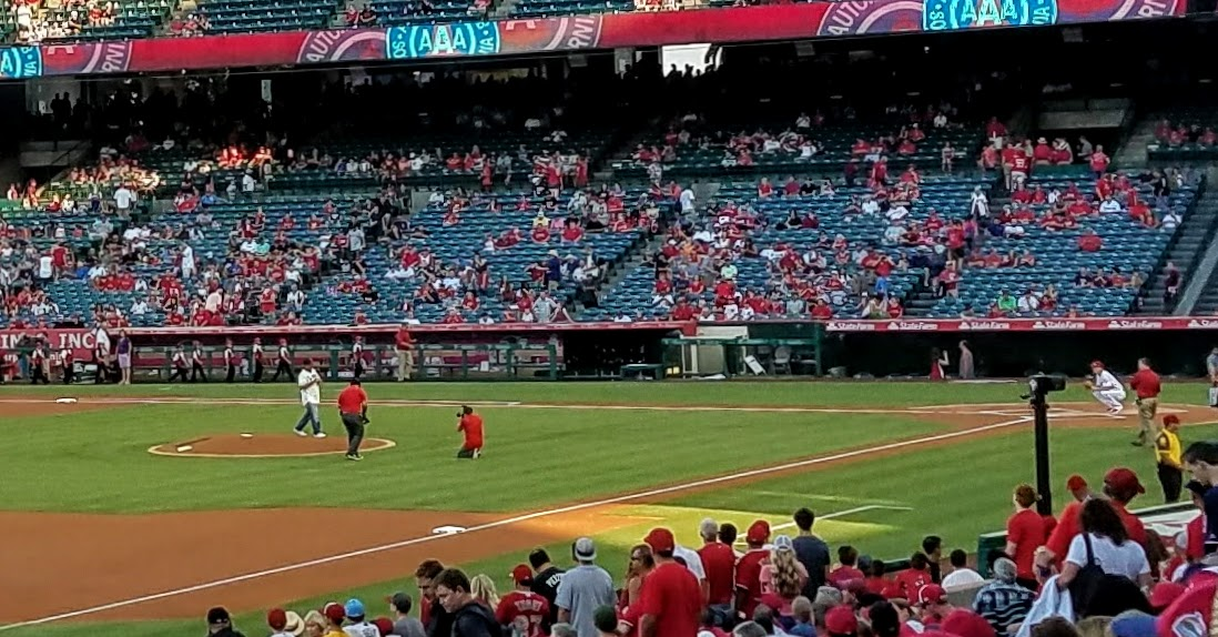 Walter Johnson's cousin Chuck Carey throwing out the first pitch. (Photo Courtesy of Dena Sommer)