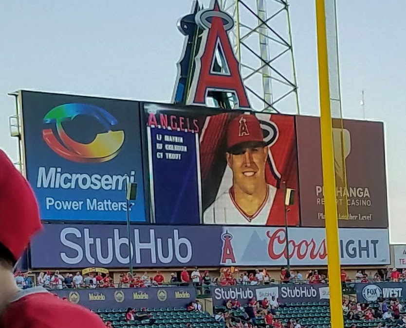 In addition to being Brea Centennial Night at Angel Stadium it was Mike Trout bobblehead night. (Photo Courtesy of Dena Sommer)