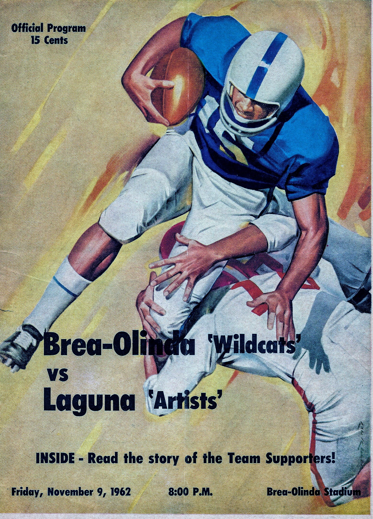 Brea-Olinda vs. Laguna Beach football program cover, 1962 (Photo Courtesy of Terry Sullivan)