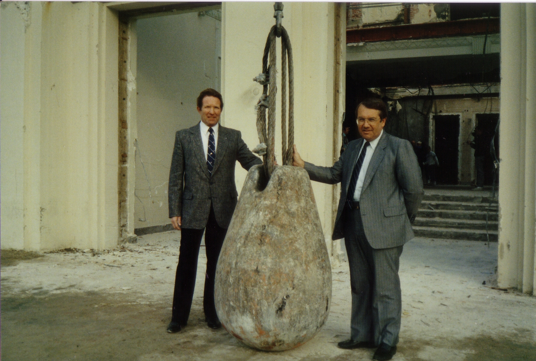 Ed Seal and Wayne Wedin holding onto the weapon of mass destruction that ultimately brought down the old Brea-Olinda.  (Photo Courtesy of the Brea Museum & Historical Society)