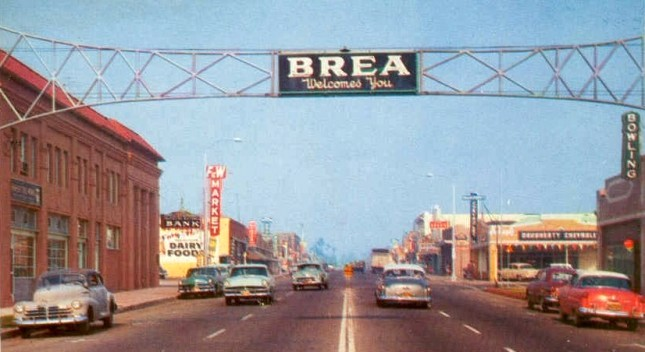 Brea Boulevard looking north, circa 1956 (Photo Courtesy of the Brea Museum & Historical Society)